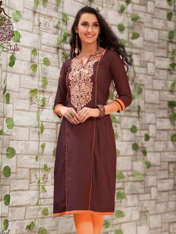 Chocolate Brown Cotton Kurti - PurpleTulsi.com