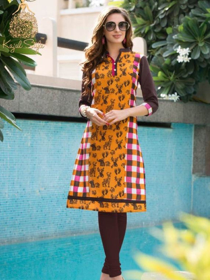 Fire Yellow and Caramel Cotton Kurti - PurpleTulsi.com