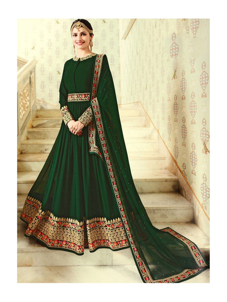Designer Green Embroidered Long Anarkali Suit With Heavy Dupatta