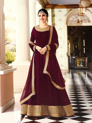Purple Embroidered Long Anarkali Suit With Heavy Dupatta