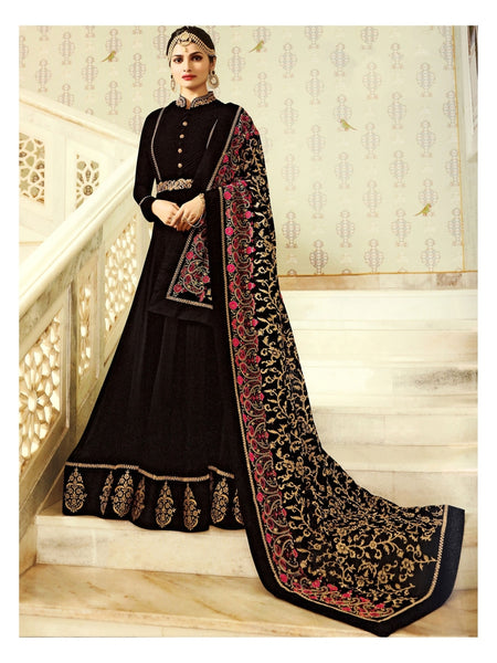 Black Embroidered Long Anarkali Suit With Heavy Dupatta
