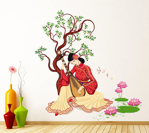 Attractive Wall Stickers Chinese Girl Playing Lute Under The Tree