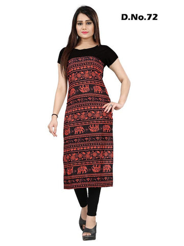 Gorgeous Red and Black Digital Printed Crepe Straight Cut Kurti