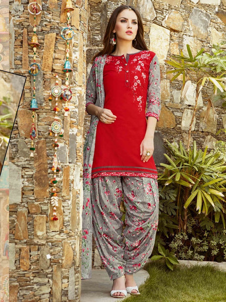 Red and Grey Patiala Suit - PurpleTulsi.com  - 1