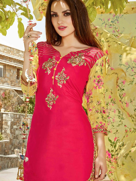 Dark Pink and Yellow Patiala Suit - PurpleTulsi.com  - 1