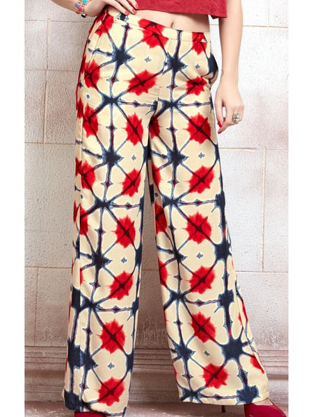 Red and Beige Palazzo Pant - PurpleTulsi.com