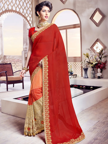 Orange and Beige Designer Saree