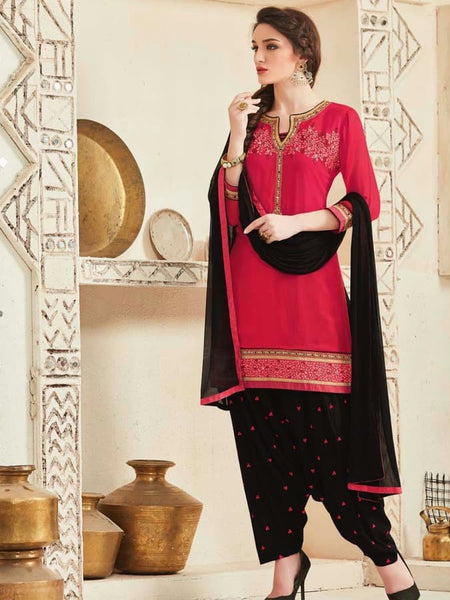 Pink and Black Patiala Suit - PurpleTulsi.com  - 1
