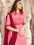 Punch Pink and Scarlet Maroon Patiala Suit - PurpleTulsi.com
