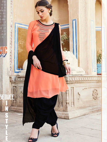 Coral and Onyx Black Patiala Suit - PurpleTulsi.com  - 1