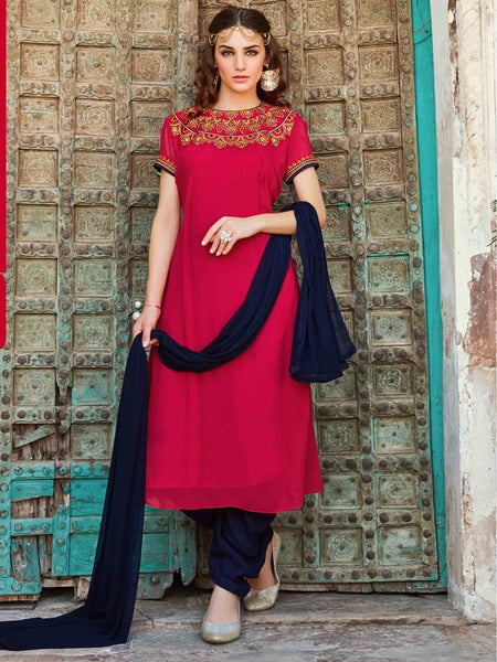 Magenta and Navy Blue Patiala Suit - PurpleTulsi.com  - 1