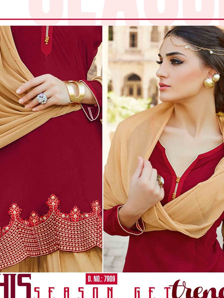 Red and Fallow Brown Patiala Suit - PurpleTulsi.com