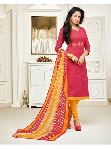 Designer Pink Color Embroidered Jacquard Straight Cut Suit