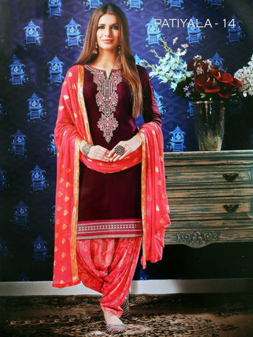 Beautiful & Designer Dark Magenta Color Patiala Suits
