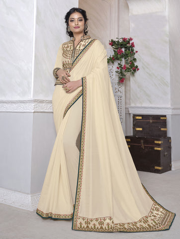 Cream Dola Silk Resham Embroidered Saree