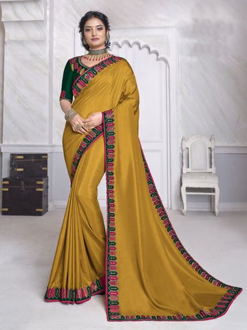 Mustard Dola Silk Resham Embroidered Saree
