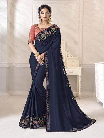 Navy Blue Barfi Silk Resham Embroidered Saree