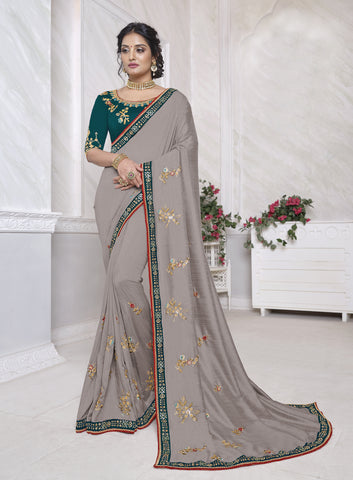 Dusty Grey Vichitra Silk Resham Embroidered Saree
