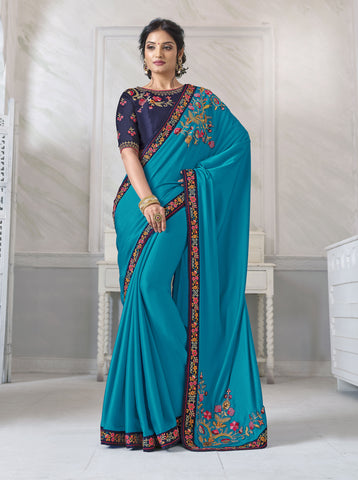 Sky Blue Barfi Silk Resham Embroidered Saree