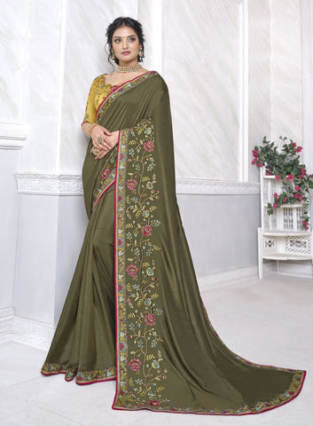 Olive Green Barfi Silk Resham Embroidered Saree