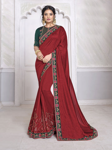 Maroon Vichitra Silk Resham Embroidered Saree