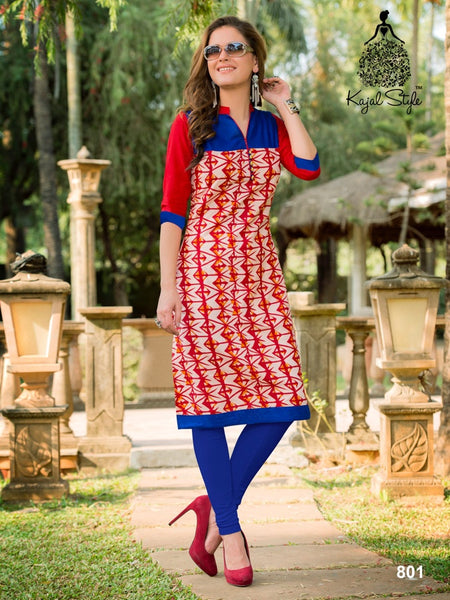 Red and Cobalt Blue Cotton Kurti - PurpleTulsi.com