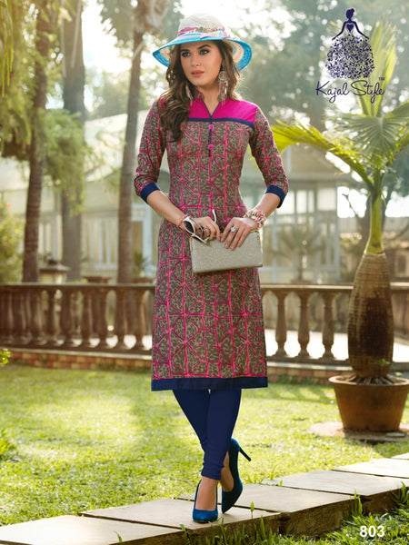 Brown and Pink Cotton Kurti - PurpleTulsi.com