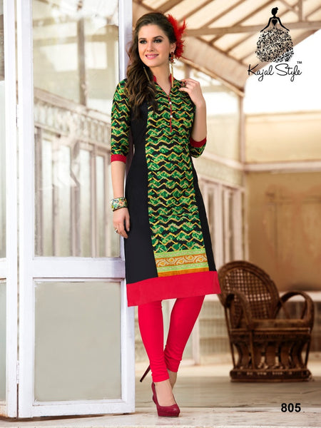 Black and Green Cotton Kurti - PurpleTulsi.com