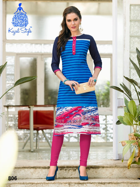 Lapis Blue Cotton Kurti - PurpleTulsi.com