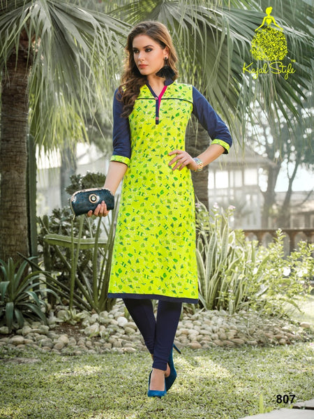 Lime Green Cotton Kurti - PurpleTulsi.com
