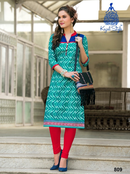 Ocean Blue Cotton Kurti - PurpleTulsi.com