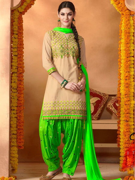Beige and Parrot Green Patiala Suit