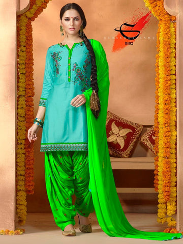 Turquoise Blue with Kelly Green Patiala Suit