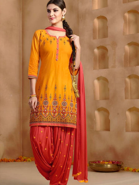Fire Yellow and Rosewood Pink Patiala Suit