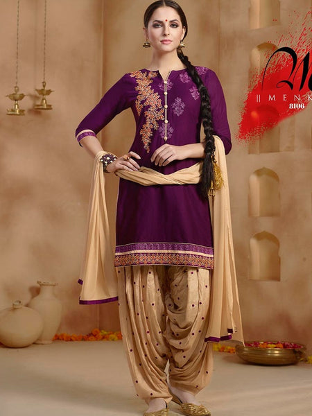 Plum and Beige Patiala Suit