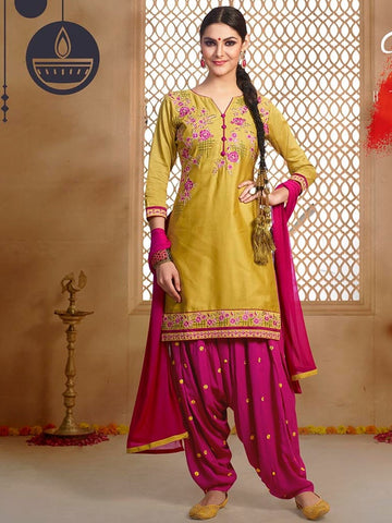 Yellow and Magenta Patiala Suit