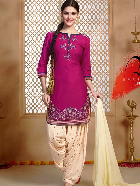 Dark Purple and Off White Patiala Suit