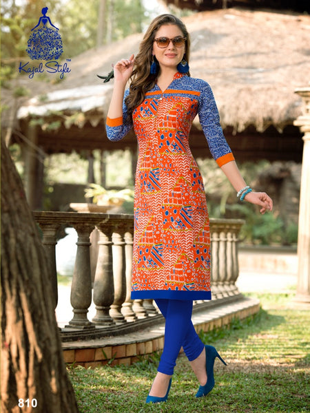 Orange and Blue Cotton Kurti - PurpleTulsi.com