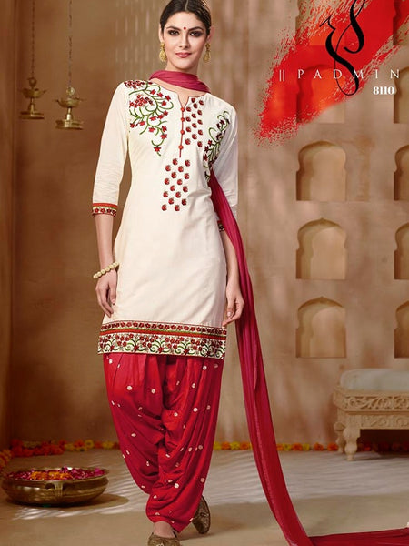 Pearl White and Dark Red Patiala Suit