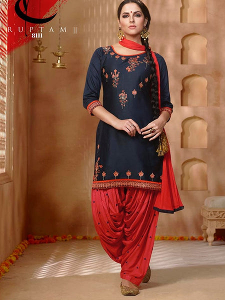 Indigo Blue and Candy Red Patiala Suit