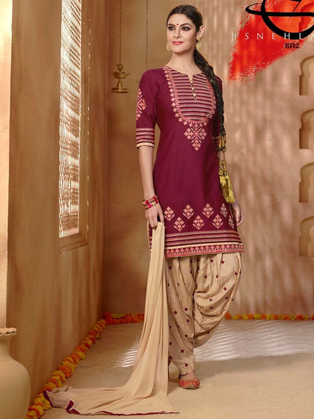 Wine and Beige Patiala Suit