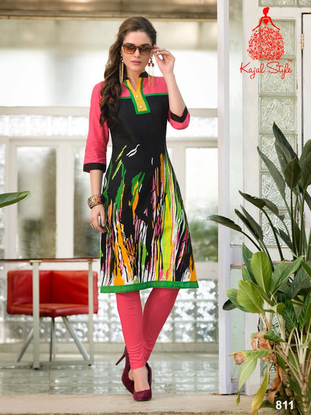 Black and Multicolour Cotton Kurti - PurpleTulsi.com