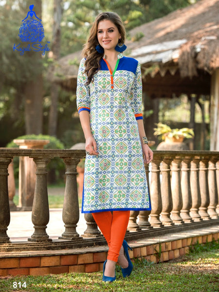 White and Admiral Blue Cotton Kurti - PurpleTulsi.com