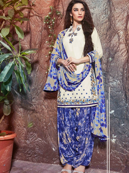White and Blue Patiala Suit - PurpleTulsi.com  - 1