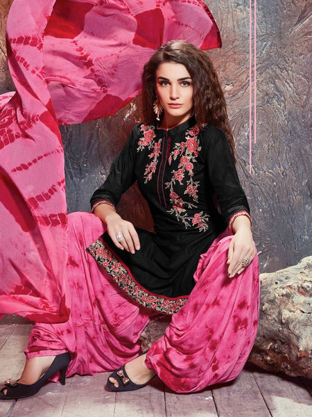 Black and Pink Patiala Suit - PurpleTulsi.com  - 1