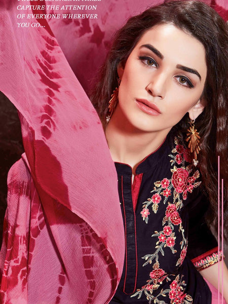 Black and Pink Patiala Suit - PurpleTulsi.com