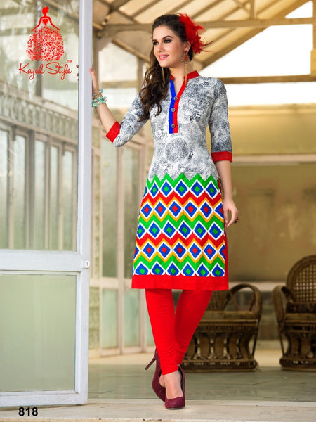 Red and Multicolour Cotton Kurti - PurpleTulsi.com