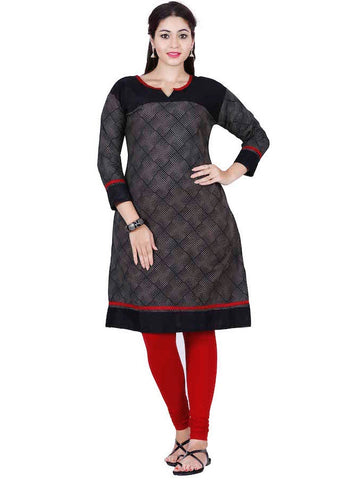 Coal Black Cotton Kurti - PurpleTulsi.com