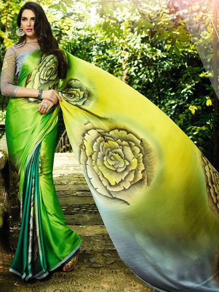 Forest Green and Lemon Yellow Saree - PurpleTulsi.com  - 1