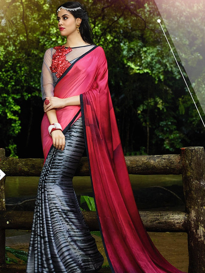 Maroon and Steel Grey Saree - PurpleTulsi.com  - 1